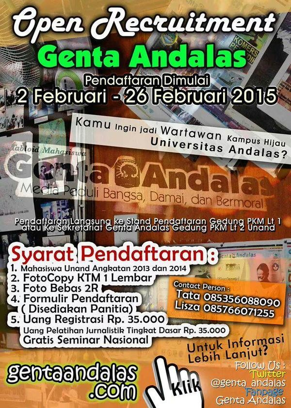 Open Recruitment Genta Andalas 2015