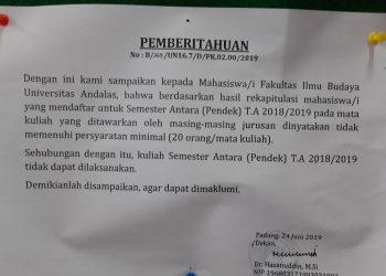 Surat Pemberitahuan Semester Pendek FIB tidak dapat dilaksanakan. (Foto: Anjasman Situmorang)