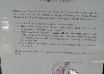 Surat Edaran Peraturan Akademik di mading Fakultas Pertanian Unand.