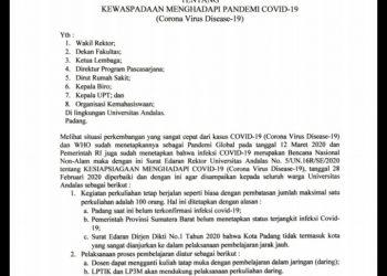 Halaman pertama Surat Edaran mengenai antisipasi corona oleh Rektor Unand, Senin (16/3/2020)