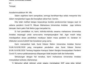 Surat terbuka dari mahasiswa untuk Rektor Unand yang dikeluarkan pada Sabtu, (2/5/2020).